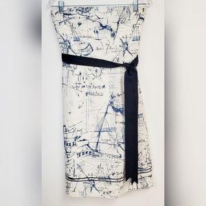 Vintage Nautical Strapless A Line Dress